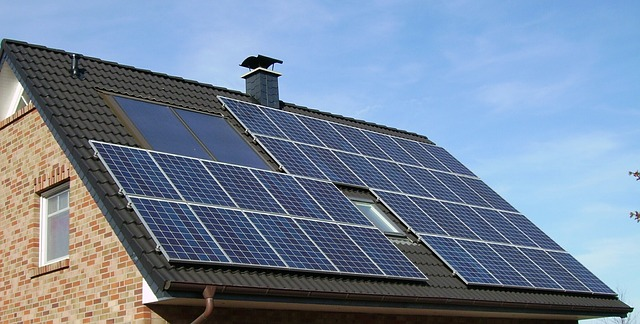 solar panel array on home