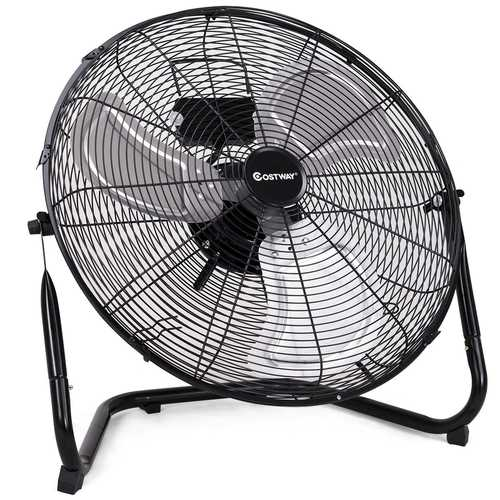 This commercial floor fan features durable tubular steel construction, carrying handle and rubber pads on base to protect surfaces.