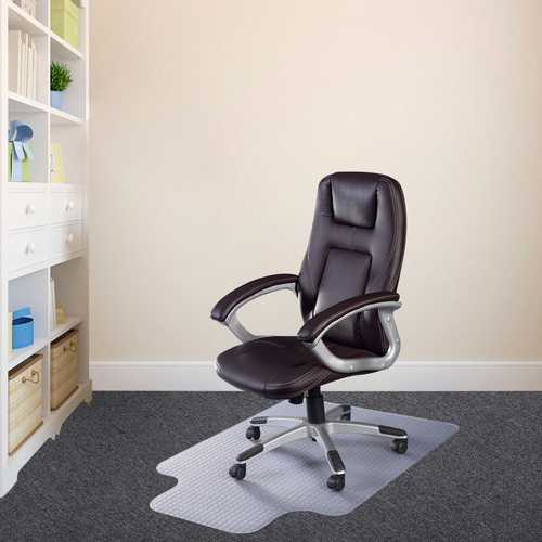 This is our clear PVC chair mat which is ideal for protect your carpet from constant rolling and standing of chairs. HelpHouse.com