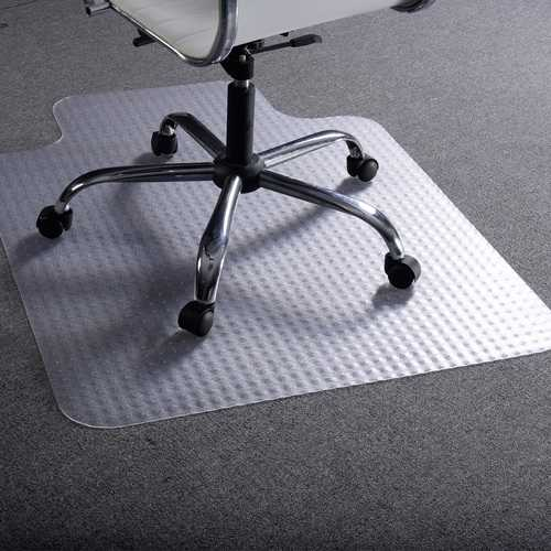 This is our clear PVC chair mat which is ideal for protect your carpet from constant rolling and standing of chairs, studded back designed to achieve a strong grip without piercing or damaging your carpet backing