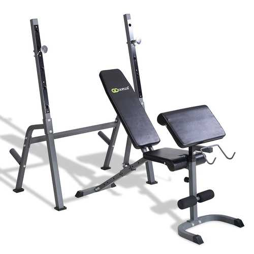 2-in-1 rack and bench for barbell and dumbbell curl workout and sit up bench ideal for commercial light institutional and home use.
